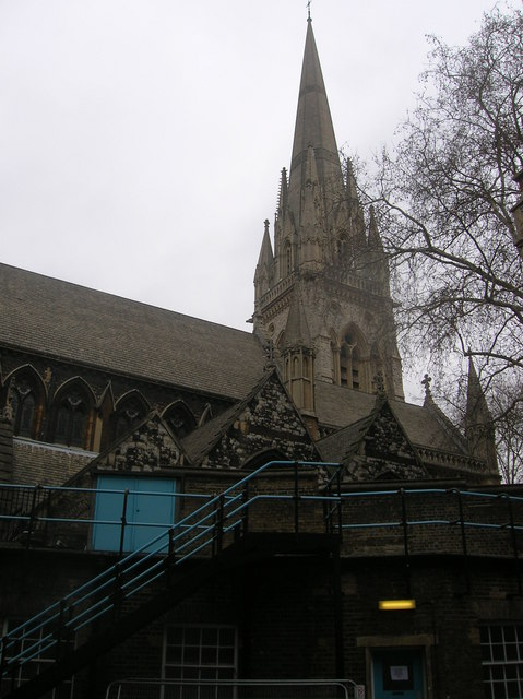 St Mary Abbots Church from Kensington Church Court, London W8