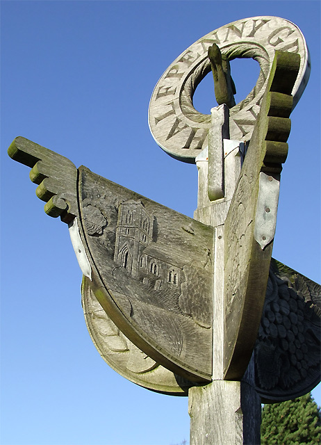 Carved Oak Signpost, Halfpenny Green, Staffordshire