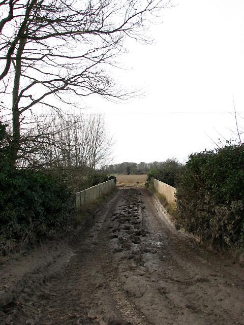 Farm track across railway bridge