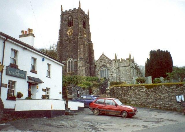 Church of St Anietus, and the London Inn, St Neot