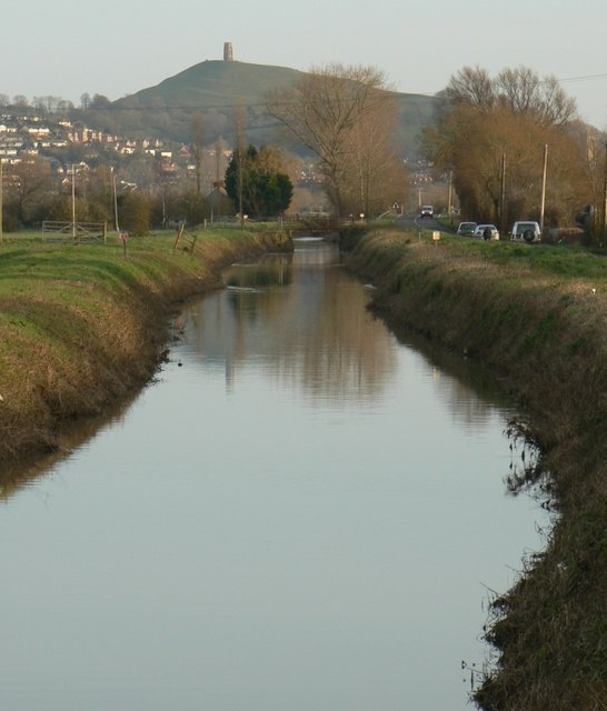 River Brue and Glastonbury Tor