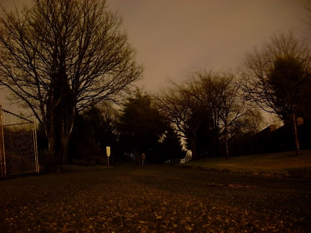 Drumry cemetery at night