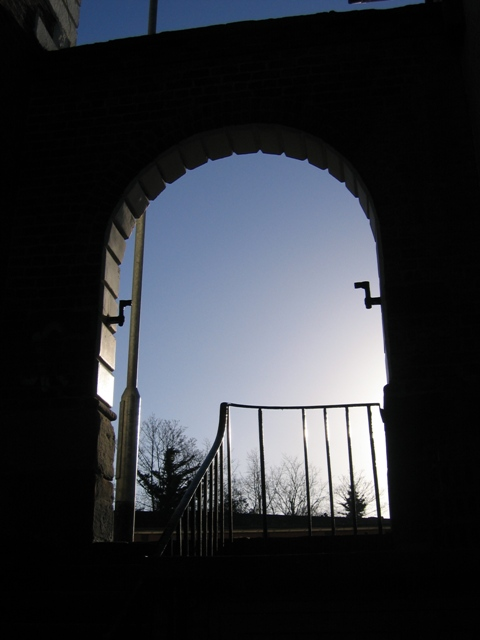 Doorway at the side of Telford's Warehouse
