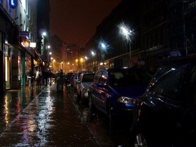 Parked cars on Union Street in Glasgow