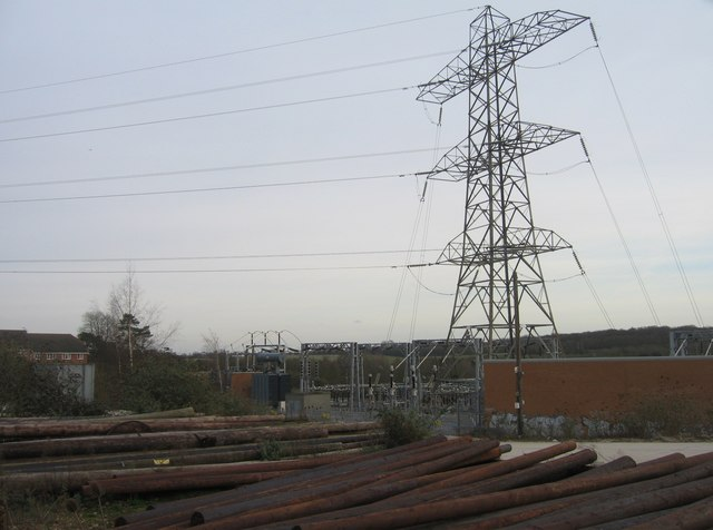 Large electric sub-station east of town centre