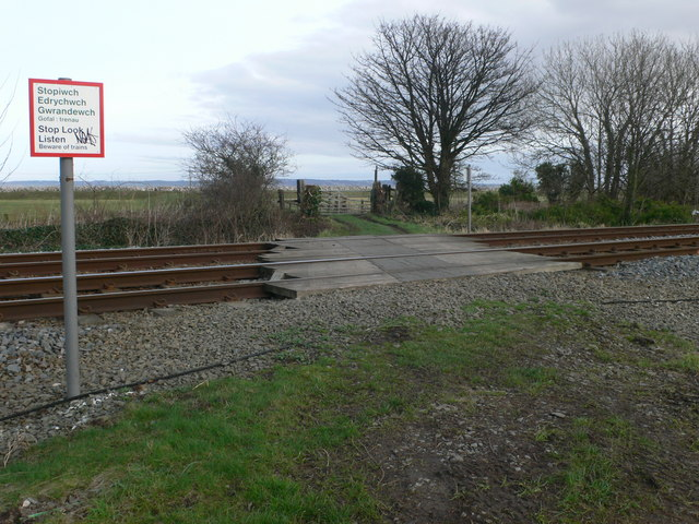 Footpath crossing the Chester-Holyhead railway line