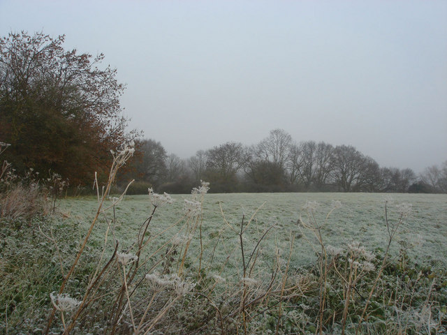 View from The Essex Way over frosty fields towards Castle House