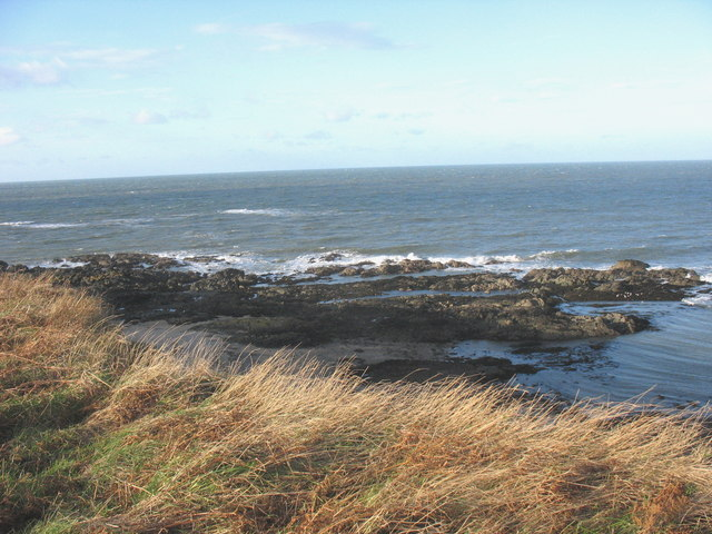 Wave cut platform and off-shore reef west of Borth Wen