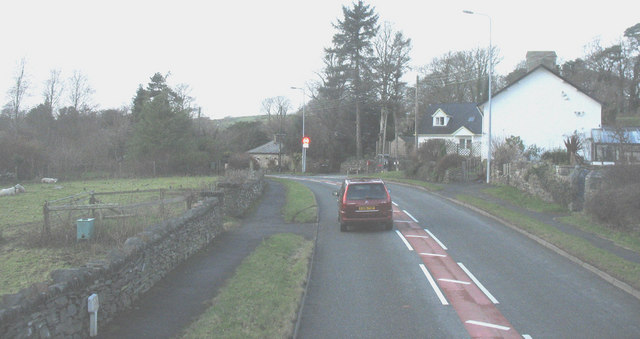 Entering the village of Pentrefelin along the A497
