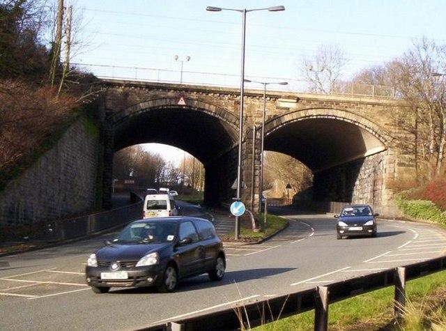 Railway mainline over A691 road. Durham