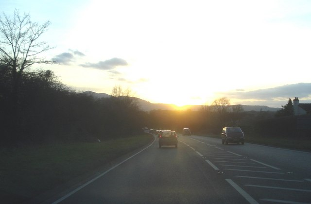 Sunset on the A449