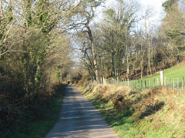 Minor road north-west of Pant Glas Farm