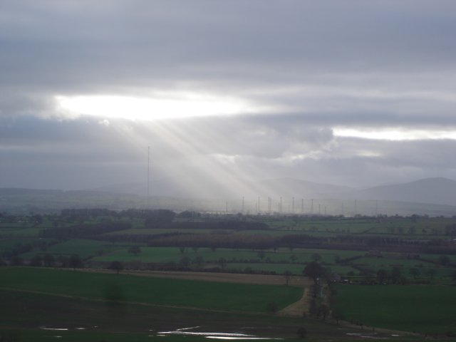 Looking over farmland towards the Skelton radio masts from Blaze Fell