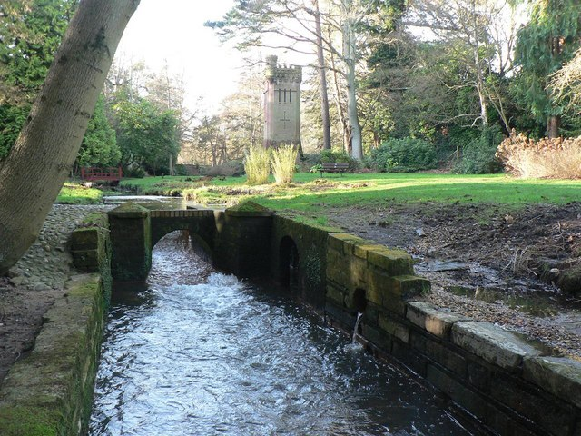 Bournemouth Gardens: stream and water tower