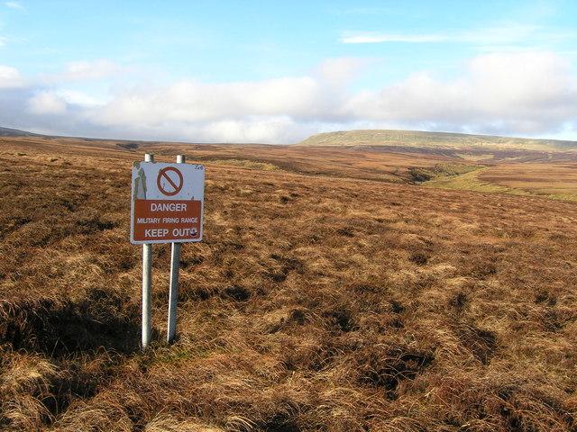 Warcop Range warning sign on Lune Head Moss