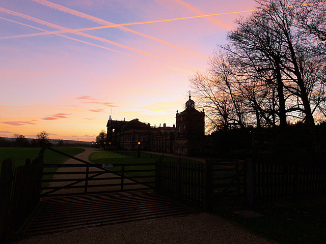 Gate and Wentworth Woodhouse at sunset
