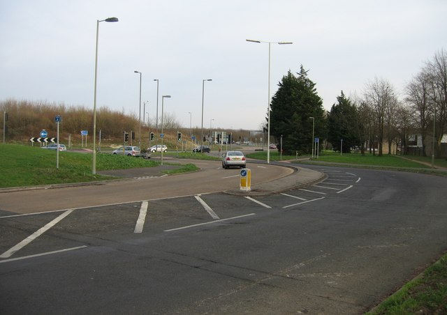 Approaching the Reading Road roundabout