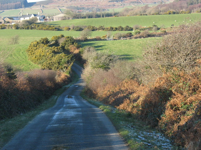 Hoar-frosted lane leading towards the junction with the B4354