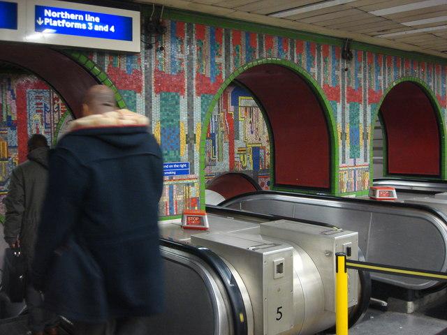 Mosaic, Tottenham Court Road station escalators