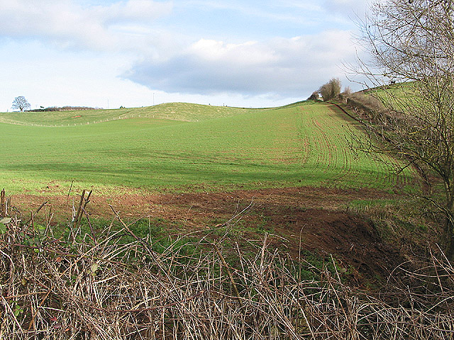 Arable hillside at Oxenhall