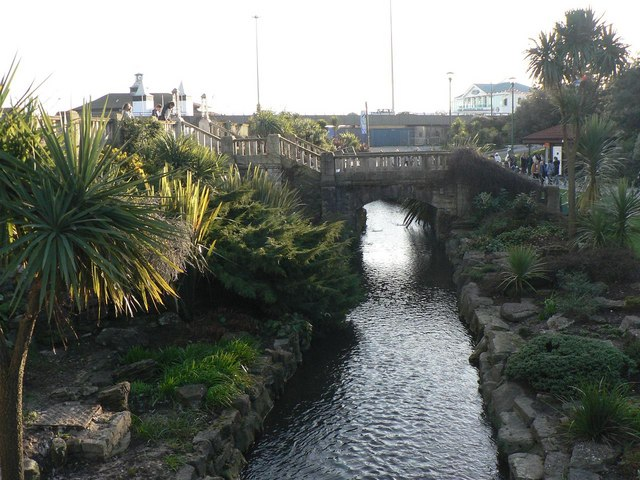 Bournemouth Gardens: the stream nears its journey's end