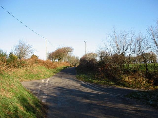 View eastwards across the Cefn Mine crossroads