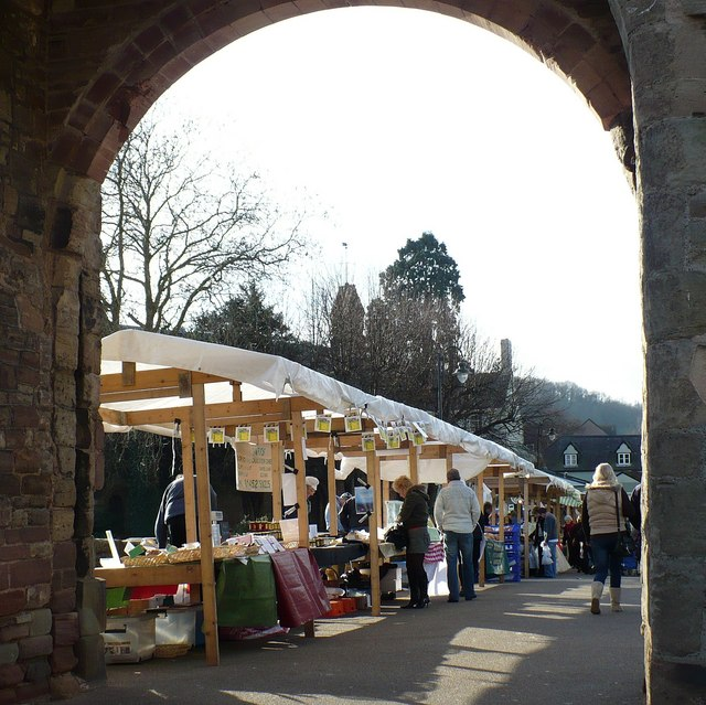 Farmers' market on Monnow Bridge