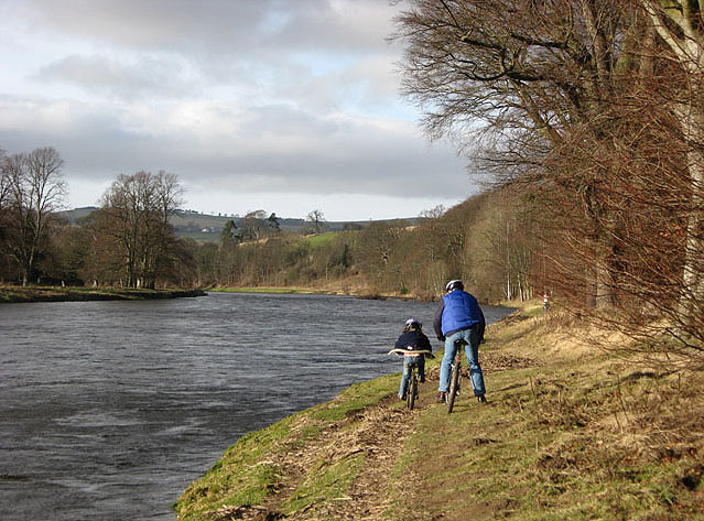 Cycling by the River Tweed