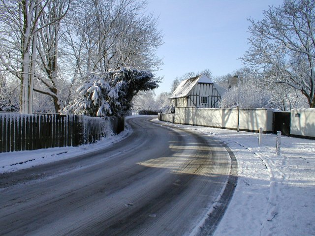 Shelford Cottages in snow