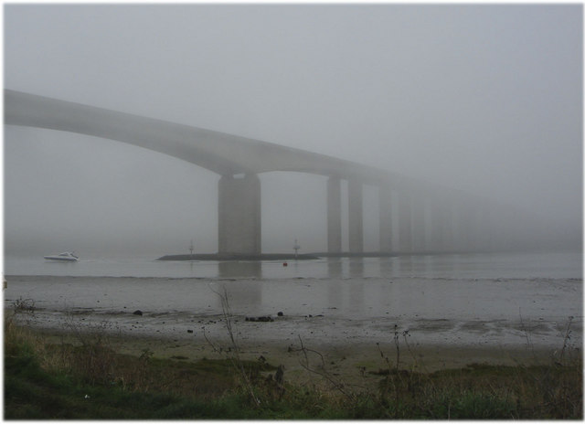 Orwell Bridge in sea fret