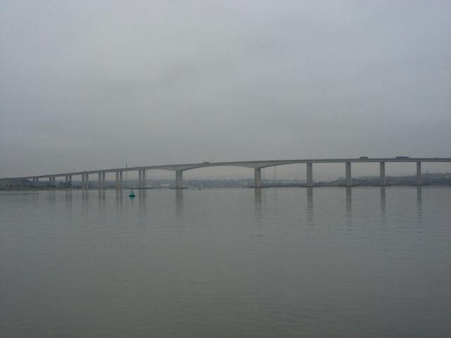 The Orwell Bridge in winter, taken from the river approaching Ipswich Docks