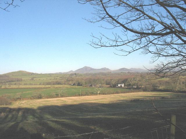 Farmland west of Bodfel Bach