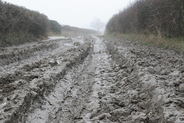 Winter mud on footpath