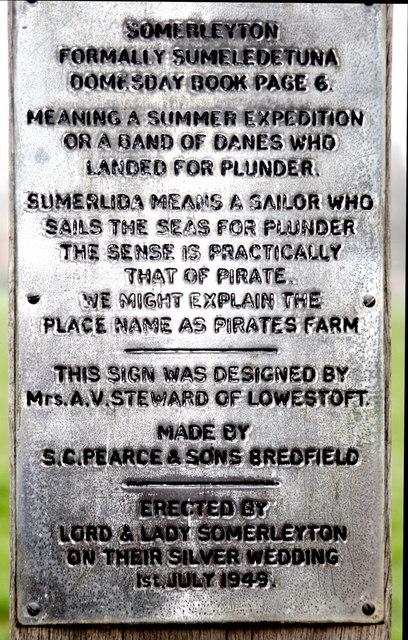 Sign on bottom of Somerleyton village signpost