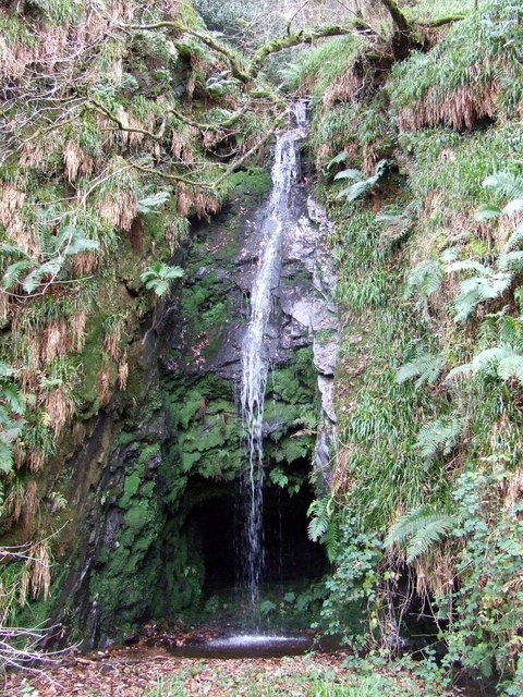 Waterfall over mine entrance