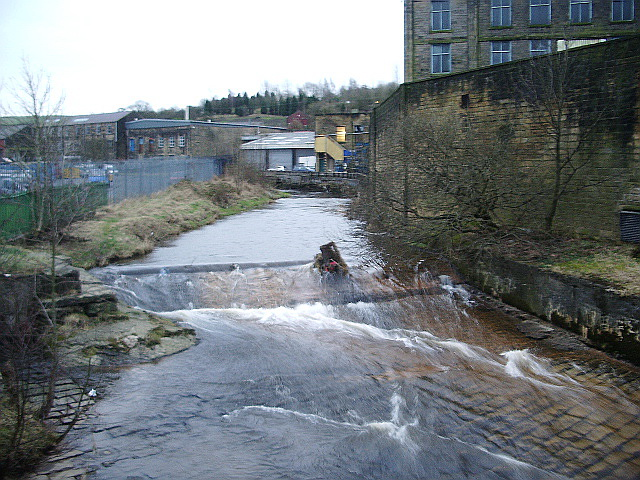 Weir on Colne Water, Waterside, Colne