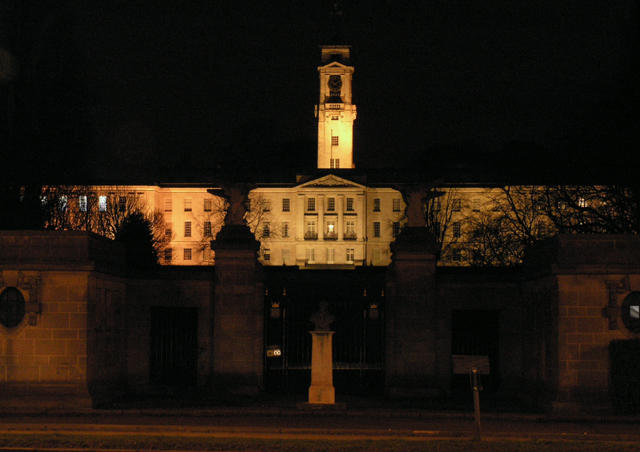 The Trent Building at night