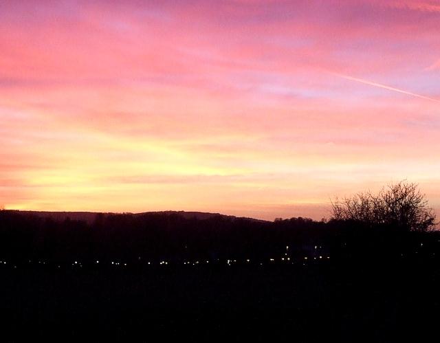 Tring Station lights at dusk
