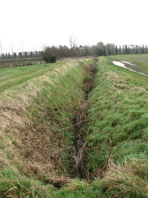 Looking east along a drainage ditch