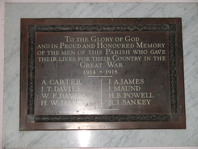 War memorial, Ashford Carbonell church