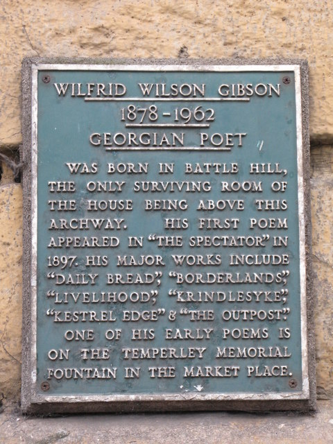 Plaque re Wilfrid Wilson Gibson, Georgian Poet