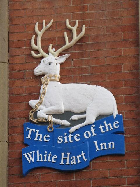 The site of the White Hart Inn (sign)