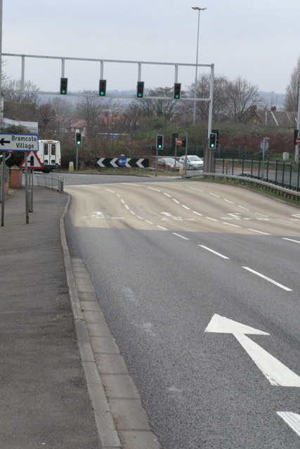Approaching the Bramcote Roundabout