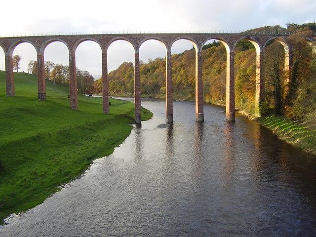 River Tweed flowing beneath Leaderfoot Viaduct