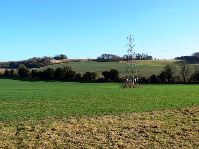 Farmland and pylon, south of Berry Down, Hampshire