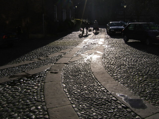 Cobbled Road in Abbey Square, Chester