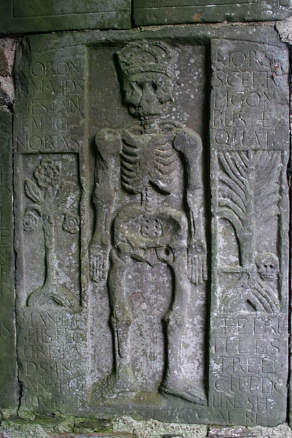 Ancient headstone dedicated to the Rose family by Geddes