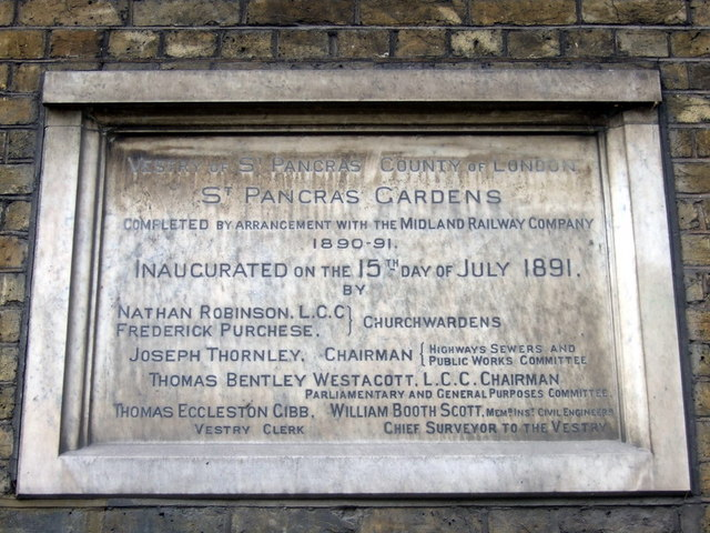 Inauguration tablet, St Pancras Gardens