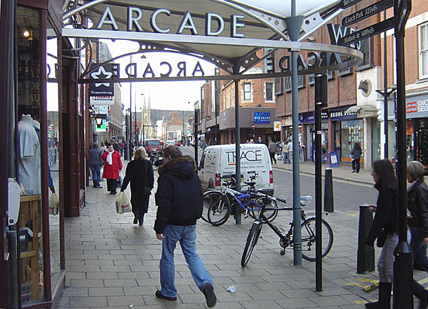 The entrance to Westgate Arcade
