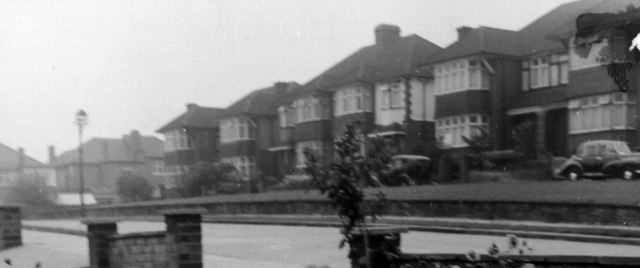 South Lodge Drive, London N14,  with 1930s houses taken in 1957.